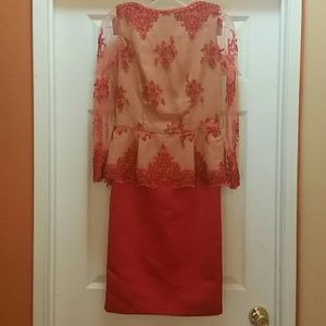 [Vintage] orange/ red lace party dress See meas.